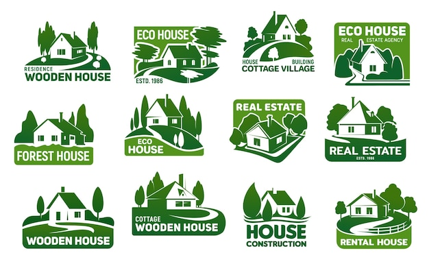 Wooden eco houses, real estate buildings  icons. Premium Vector