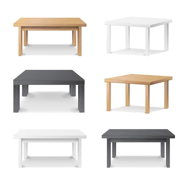 Wooden empty square table Premium Vector
