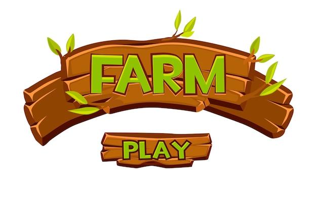 Ui 게임을위한 나무 농장 간판. 글자와 녹색 잎의 만화 그림입니다. 프리미엄 벡터