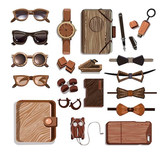 木製のおしゃれな流行に敏感なアクセサリーセット 無料ベクター