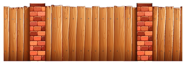 Wooden fence and brick poles Free Vector