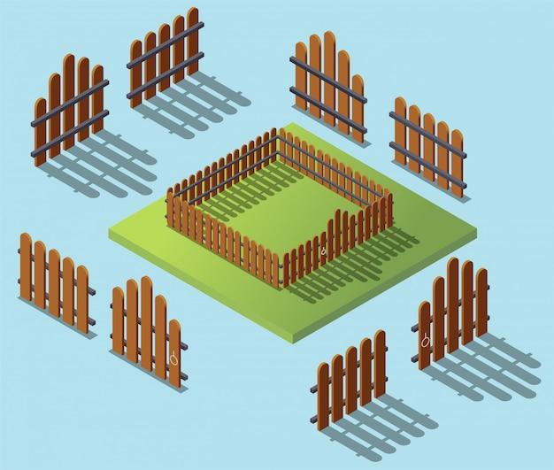 Wooden fence in isometric. garden exterior flat 3d isometric illustration. architecture Premium Vector