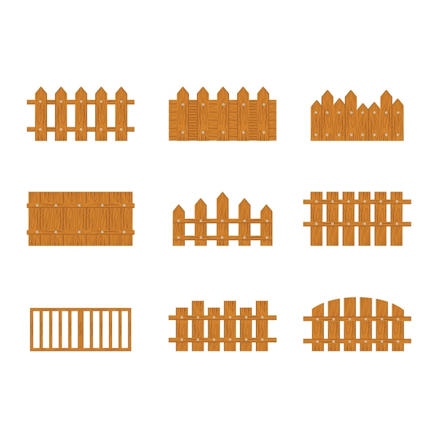 Wooden fence on white background Premium Vector