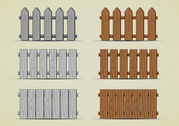 Wooden fence Premium Vector