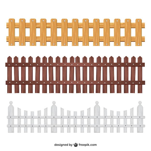 Wooden fences collection Premium Vector