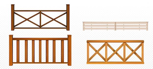 木製のフェンス、手すり、手すりセクション、菱形と火格子のパターンバルコニーパネル、階段またはテラスフェンシングアーキテクチャ分離されたデザイン要素、3dベクトルリアルなイラストセット 無料ベクター