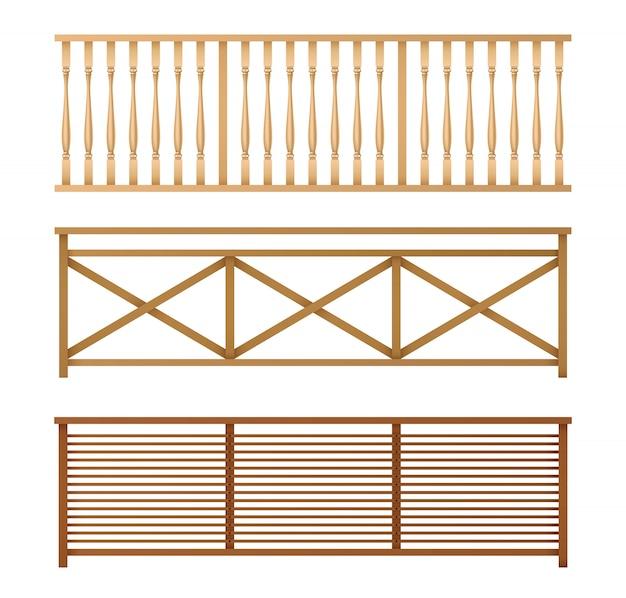 Wooden fences, handrails realistic vector set Free Vector