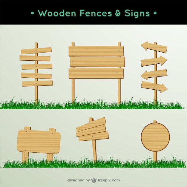 Wooden fences and signs Free Vector