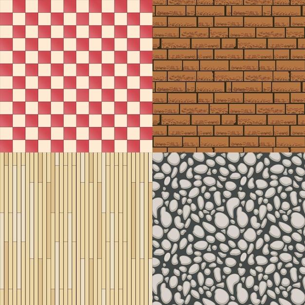 나무 바닥 질감, 돌 패턴 및 타일 배경 세트. 건축 자재, 원활한 배경 및 마루. 벡터 일러스트 레이 션 무료 벡터