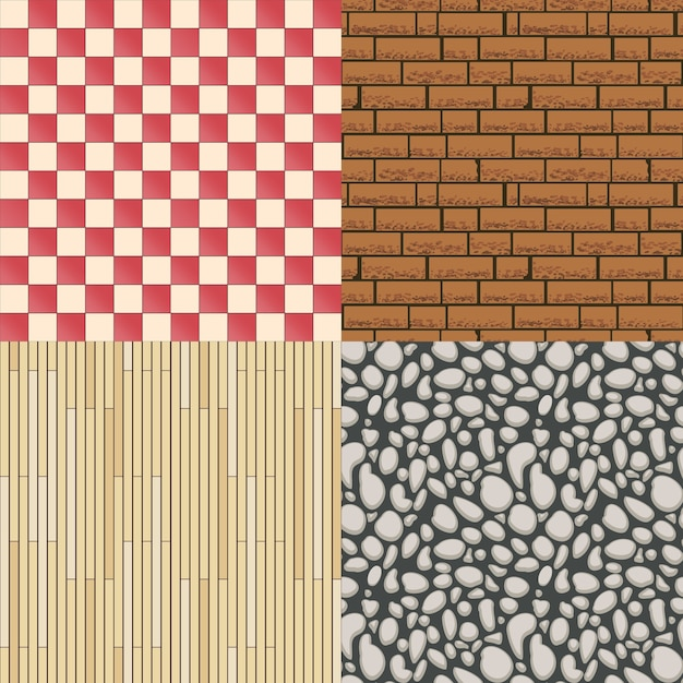 Wooden floor texture, stone pattern and tiles background set. construction material, seamless backdrop and parquet. vector illustration Free Vector