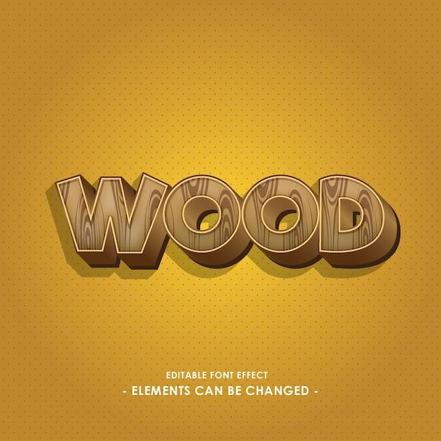 Wooden font effect Premium Vector