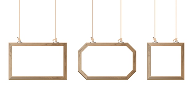 Wooden frame hanging with ropes  illustration Premium Vector