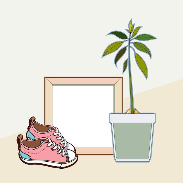 Wooden frame, sneakers and avocado plant. Premium Vector