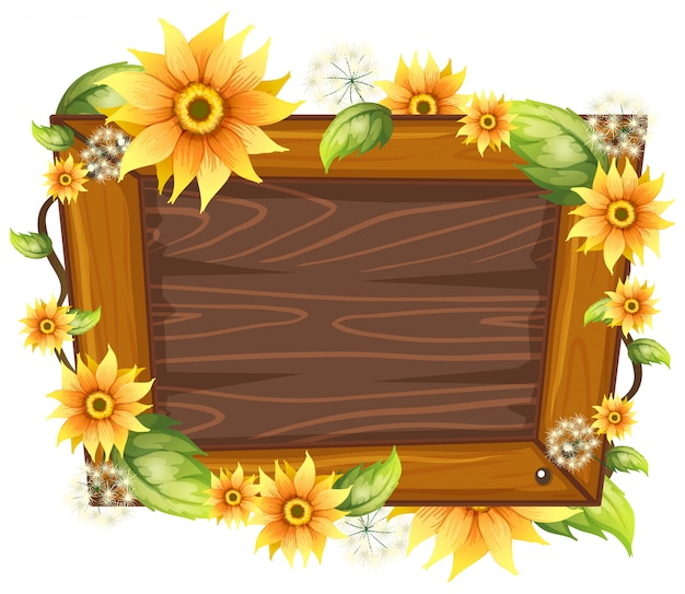 Wooden frame with flower Free Vector