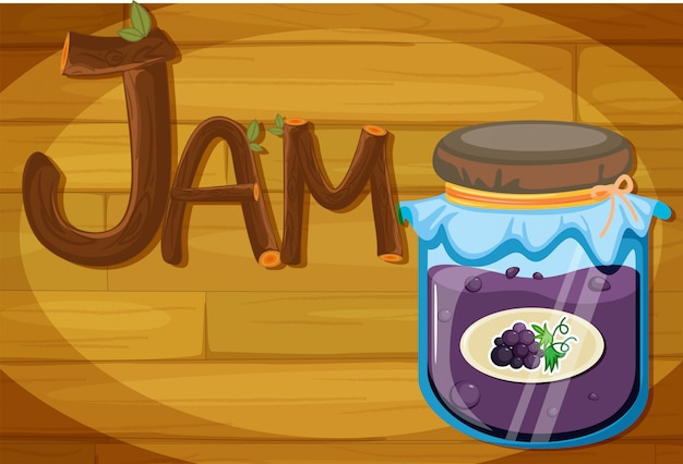 A wooden frame with a jam Free Vector