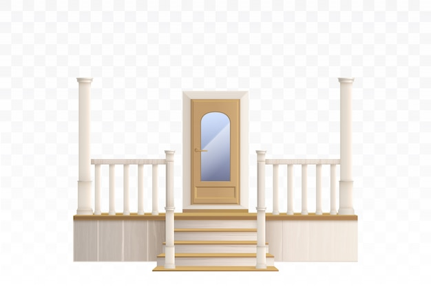 Wooden front door with glass window and porch staircase illustration Free Vector