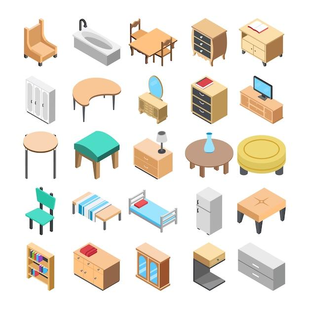Деревянная мебель плоские иконки Premium векторы