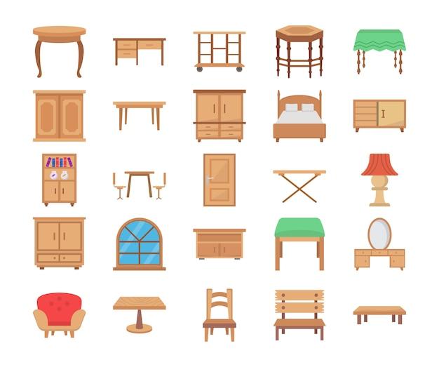 Wooden furniture flat vector icons Premium Vector