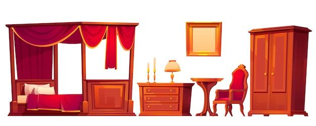 白で隔離される古い豪華なベッドルームの木製家具 無料ベクター