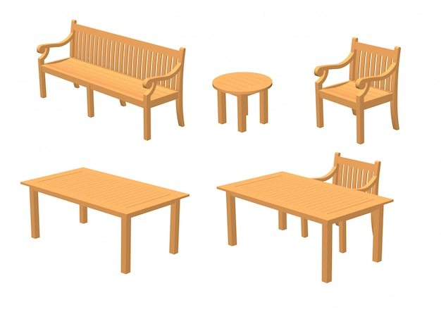 Wooden furniture and wooden tables Premium Vector