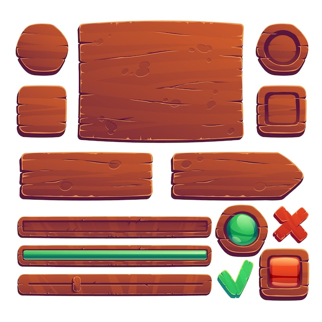 Деревянные игровые кнопки и баннеры Бесплатные векторы