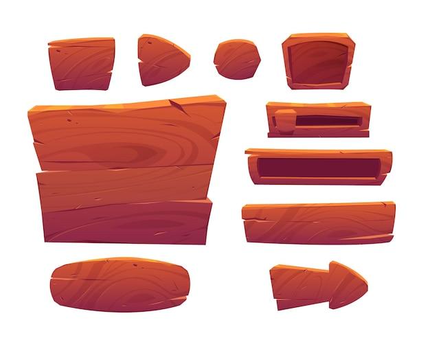 Деревянные игровые кнопки, мультяшный интерфейс меню из текстурированных деревянных досок Бесплатные векторы