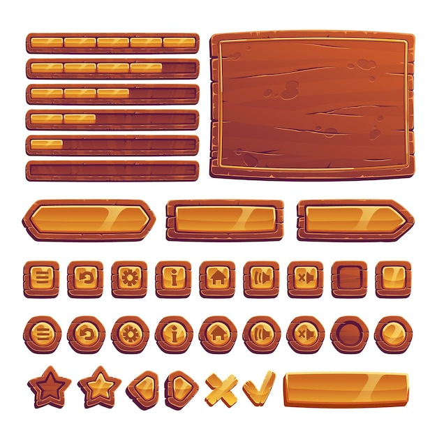 Wooden and gold buttons for ui game Free Vector