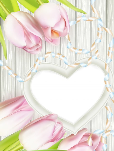 Wooden heart shape frame. Premium Vector