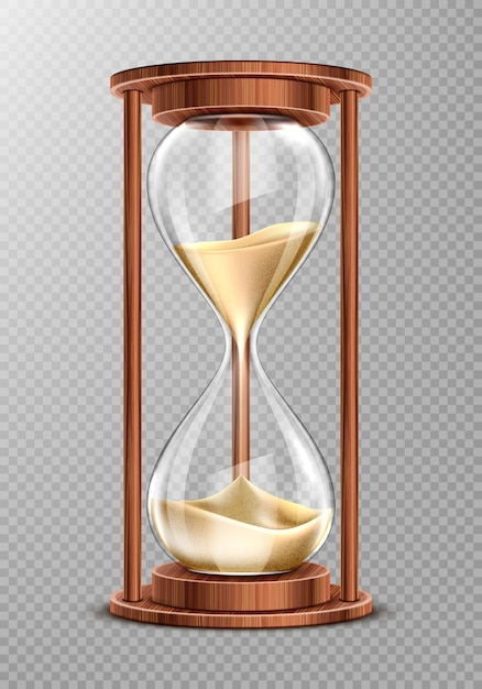 Wooden hourglass with falling sand Free Vector