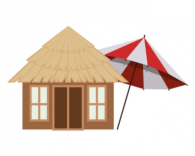 Wooden house on the beach Free Vector