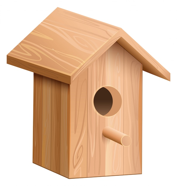 Wooden house for bird. nesting box Premium Vector