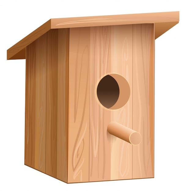 Wooden house for bird. nesting box Premium Vector