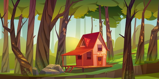 Wooden house in forest or garden Free Vector