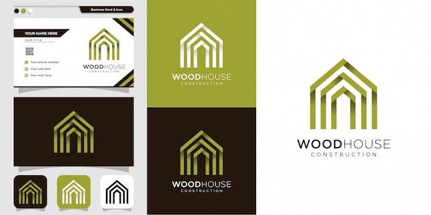 Wooden house logo and business card design template, modern, wood, house, home, construction, buildi