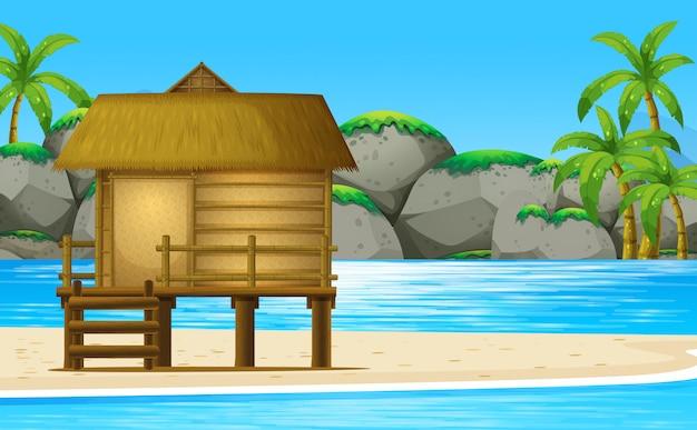 Wooden hut on the beach Premium Vector