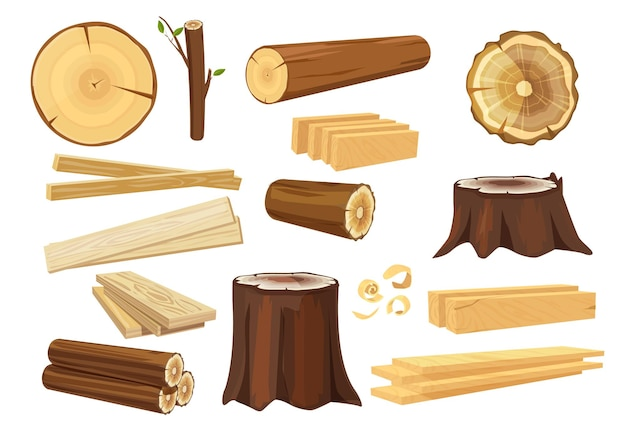 Wooden industry. lumber trunks stacking log forestry and branches collection. Premium Vector