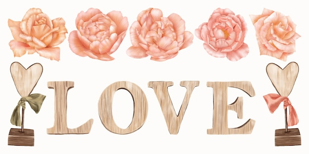 Wooden inscription with pink roses Premium Vector
