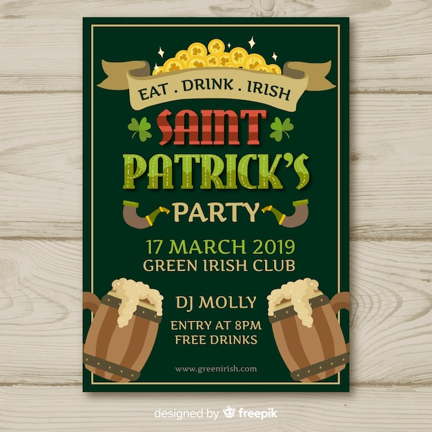 Wooden jars st patrick's party poster Free Vector