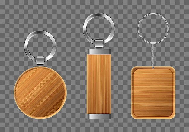 Wooden keychains, keyring holders with metal rings Free Vector