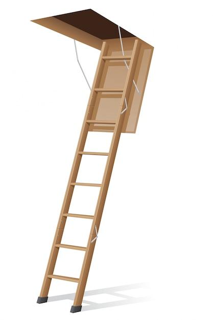 Деревянная лестница на чердак. Premium векторы