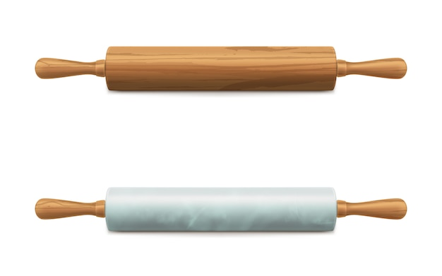 Wooden and marble stone rolling pins vector Free Vector