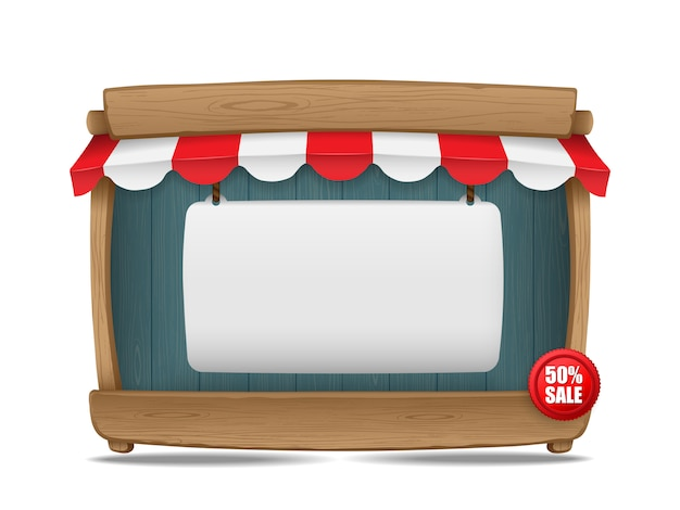 Wooden market stall with awning and blank board, vector illustration Premium Vector
