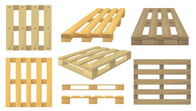 Wooden pallets set. Free Vector