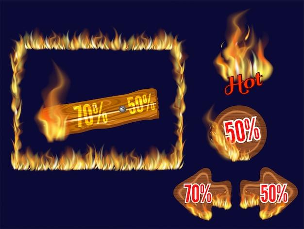 Деревянные панели горячего тура с горящим пламенем Бесплатные векторы
