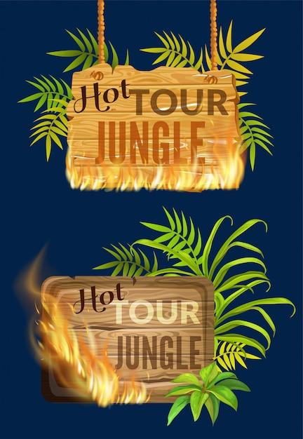 불꽃 화상 판매의 나무 패널. 무료 벡터