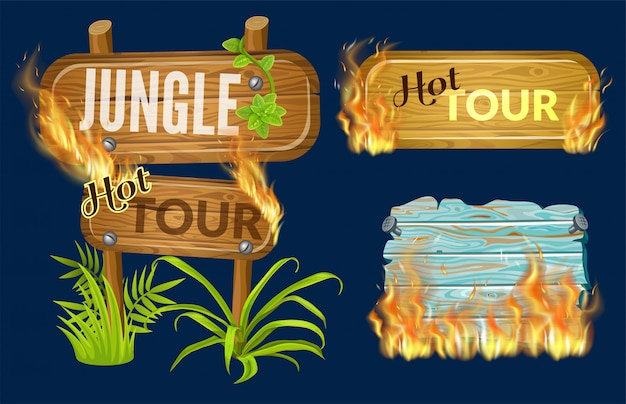 Wooden panels of sale with flame burn Free Vector