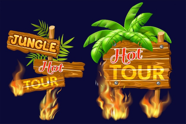 Wooden panels of sale with flame burn. Free Vector
