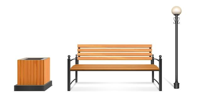 木造公園のベンチ、街路灯とゴミ箱、鍛造脚とアームレスト付きの屋外用木製シート、金属製ポールのランタンとゴミ箱。都市または公園の歩道の家具。現実的な3 dセット 無料ベクター