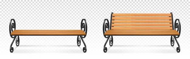 木製の公園のベンチ、装飾的な華やかな鍛造金属製の脚とアームレストを備えた屋外の茶色の木製シート。透明な背景に分離された庭や歩道の家具。リアルな3dイラスト 無料ベクター