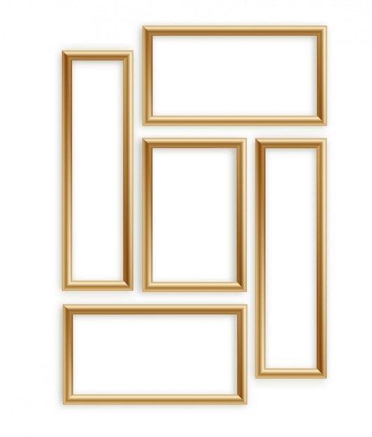 Wooden photo frame collection. 3d picture frame design for image or text Premium Vector